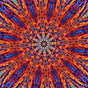 Computer Generated Tie Dye Kaleidoscope Created from a Photograph of a Sunset by Karimala