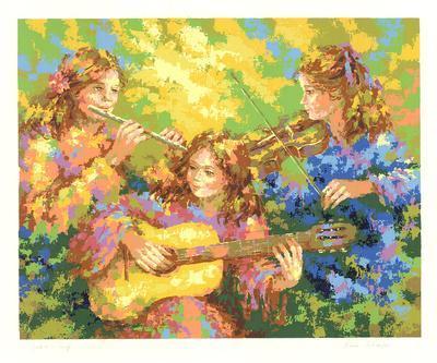 Three Women Playing Music