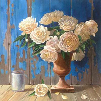 Aged Wood and Peonies by Karin Valk