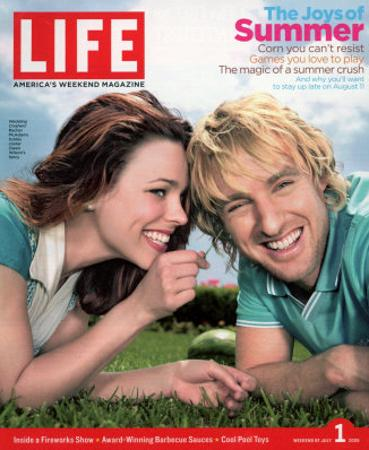 Actors Rachel McAdams and Owen Wilson Outdoors Lying on Lawn, July 1, 2005