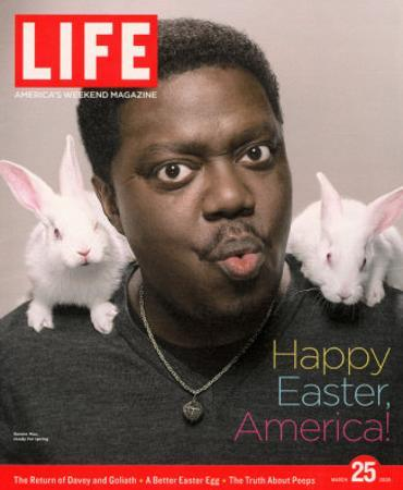 Happy Easter, Comic Actor Bernie Mac with White Rabbits on Shoulders, March 25, 2005