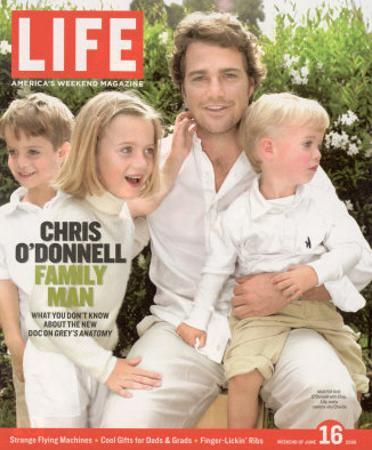 Portrait of Actor Chris O'Donnell and his Three Children at Home, June 16, 2006
