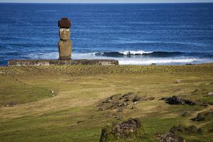 Ahu Tahai, A Moai Statue On Easter Island, Chile, Chilean Territory, Volcanic Island In Polynesia by Karine Aigner