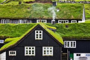 Grass Covered Rooftops on Traditional Faroese Houses by Karine Aigner
