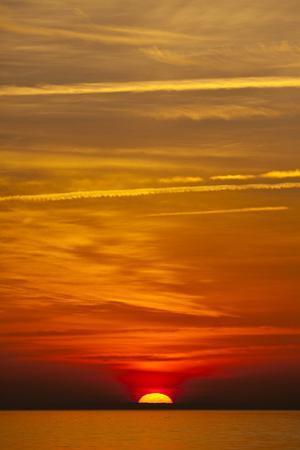 Orange Sunrise on the Water of the Bay on Tilghman Island, Maryland