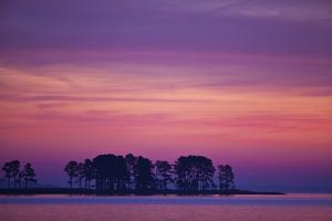 The Scenic Peninsula Against a the Pink and Purple Sky in Chesapeake Bay, Tilghman Island, Maryland by Karine Aigner