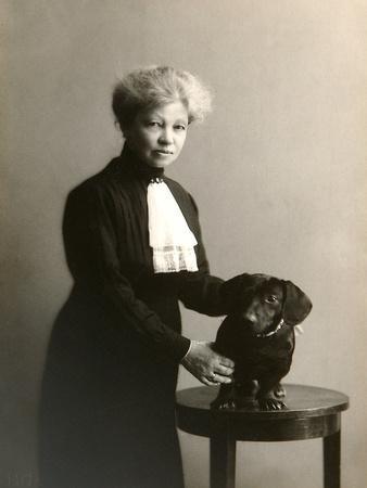 Alexandra Beketova-Blok, Russian Author and Translator, with Her Pet Dog, Early 19th Century