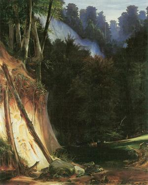 Forest Gorge with Deers by Karl Blechen