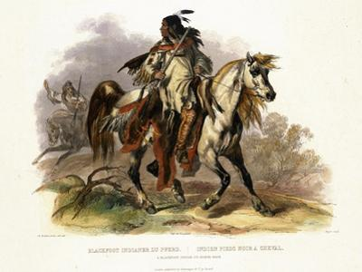 A Blackfoot Indian on Horseback, Plate 19 from Volume 1 of Travels in the Interior of North America by Karl Bodmer