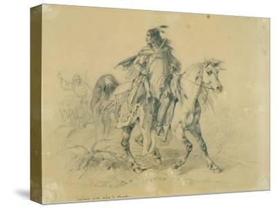 Blackfeet Warrior on Horseback, C.1833-43 by Karl Bodmer