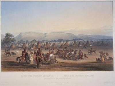 Encampment of the Piekann Indians, Engraved by Beyer and Hurliman, Published in 1839 by Karl Bodmer
