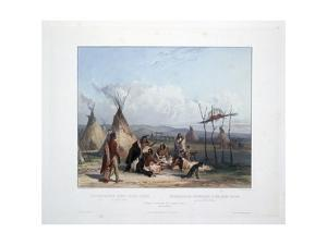 Funeral Scaffold of a Sioux Chief Near Fort Pierre by Karl Bodmer