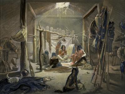 Hut of a Mandan Chief, Travels in the Interior of North America, c.1844 by Karl Bodmer