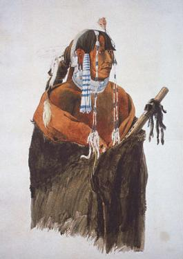 Mandeh-Pahchu, Mandan Man by Karl Bodmer