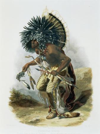 Pehriska-Ruhpa, Minatarre Warrior in the Costume of the Dog Dance by Karl Bodmer