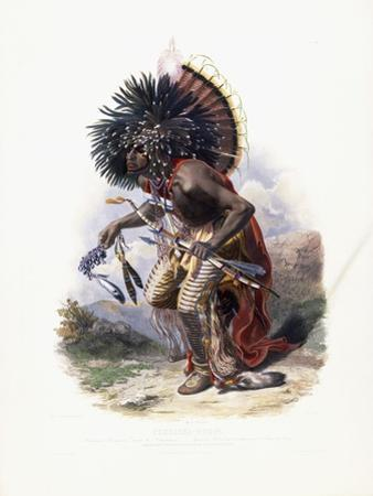 Pehriska-Ruhpa, Moennitarri Warrior in the Costume of the Dog Danse, 1840 by Karl Bodmer