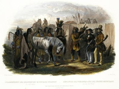 The Travellers Meeting with Minatarre Indians Near Fort Clark, Plate 26 by Karl Bodmer