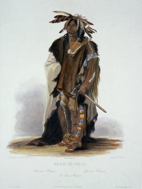 """Wahk-Ta-Ge-Li, a Sioux Warrior, Plate 8 from Volume 2 of """"Travels in the Interior of North America"""" by Karl Bodmer"""