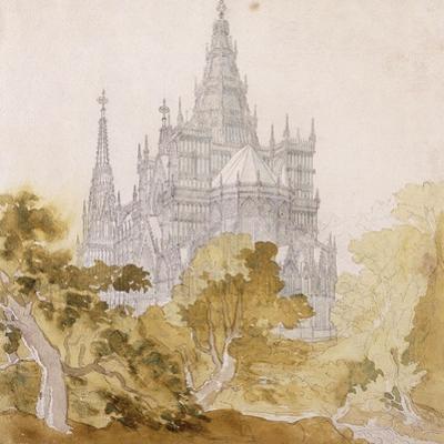 A Gothic Cathederal Near Bauman; Eine Gotische Kathedrale Hinter Baumen, 1814-15 by Karl Friedrich Schinkel