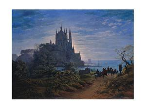 Gothic Church on a Rock by the Sea, 1815 by Karl Friedrich Schinkel