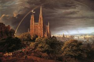 Medieval City on Banks of River by Karl Friedrich Schinkel