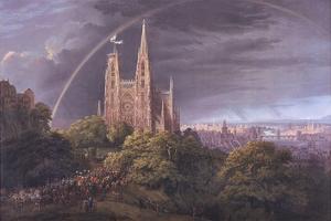 Mittelalterliche Stadt an eniem Fluss by Karl Friedrich Schinkel