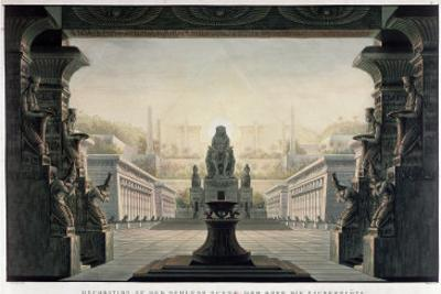 """Set Design for the Final Scene of """"The Magic Flute"""" by Wolfgang Amadeus Mozart by Karl Friedrich Schinkel"""