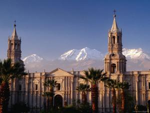Arequipa Cathedral and Chachani Volcano by Karl Lehmann