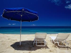 Blue Parasol and Beach Chairs on Manele Bay, Hulopoe Beach, Lanai, Hawaii, USA by Karl Lehmann
