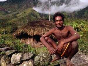 Dani Man in Front of His House Near the Baliem Gorge, Tangma, Irian Jaya, Indonesia by Karl Lehmann