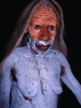 Dani Woman in Mourning with Body Painted in Mud at the Wamena Market, Irian Jaya, Indonesia by Karl Lehmann