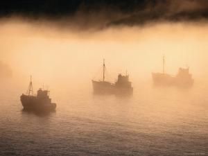 Fishing Boats Shrouded in Evening Fog by Karl Lehmann