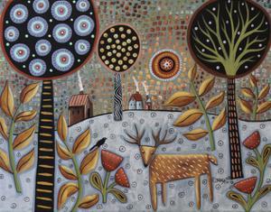 Deer and Bird 1 by Karla Gerard