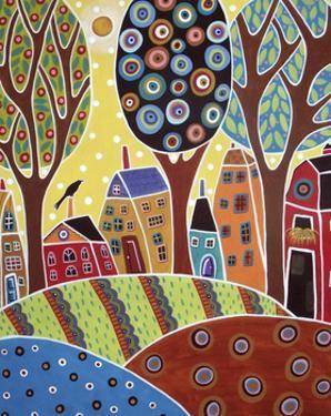 Houses Barn Landscape by Karla Gerard