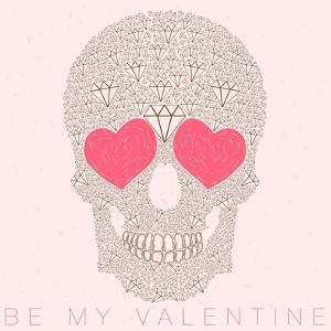 Vector Funny, Candy, Brown Skull with Heart Eyes, Diamonds, Brilliants. Love and Valentine's Day by karnoff