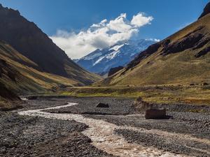 Aconcagua Mountain and Horcones River, Aconcagua Provincial Park, Central Andes, Mendoza Province,  by Karol Kozlowski