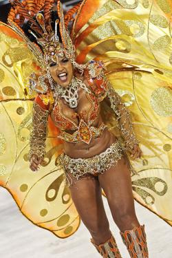 Brazil, State of Rio de Janeiro, City of Rio de Janeiro, Samba Dancer in the Carnival Parade at The by Karol Kozlowski