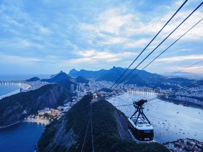 Cable Car to Sugarloaf Mountain at twilight, Rio de Janeiro, Brazil, South America by Karol Kozlowski