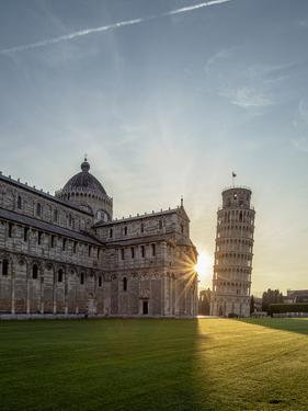 Cathedral and Leaning Tower at sunrise, Piazza dei Miracoli, Pisa, Tuscany, Italy by Karol Kozlowski