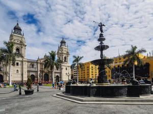 Cathedral of St. John the Apostle and Evangelist, Plaza de Armas, Lima, Peru, South America by Karol Kozlowski