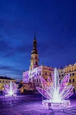 Christmas decorations at the main square of Zamosc, Lublin Voivodeship, Poland by Karol Kozlowski