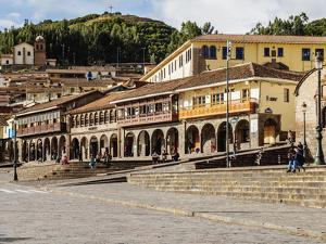 Colonial houses with balconies, Main Square, UNESCO World Heritage Site, Cusco, Peru, South America by Karol Kozlowski