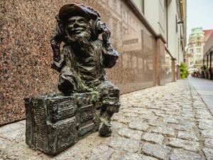 Dwarf Sculpture at the Old Town, Wroclaw, Lower Silesian Voivodeship, Poland by Karol Kozlowski