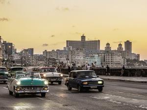 El Malecon at sunset, Havana, La Habana Province, Cuba, Central America by Karol Kozlowski
