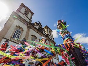 Fitas in front of the Nosso Senhor do Bonfim Church, Salvador, State of Bahia, Brazil, South Americ by Karol Kozlowski