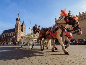 Horse Carriage with St. Mary Basilica in the background, Main Market Square, Cracow, Lesser Poland by Karol Kozlowski
