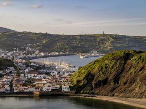 Horta seen from Monte da Guia, elevated view, Faial Island, Azores, Portugal, Atlantic, Europe by Karol Kozlowski