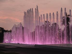 Magic Water Circuit in La Reserva Park, sunset, Lima, Peru, South America by Karol Kozlowski