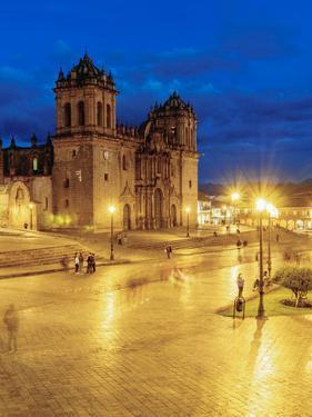 Main Square at twilight, Old Town, UNESCO World Heritage Site, Cusco, Peru, South America by Karol Kozlowski
