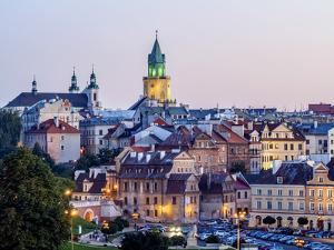 Poland, Lublin Voivodeship, City of Lublin, Old Town Skyline at twilight by Karol Kozlowski